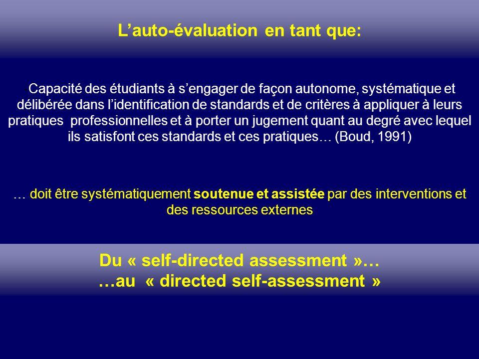 Lauto-évaluation en tant que: -Capacité des étudiants à sengager de façon autonome, systématique et délibérée dans lidentification de standards et de