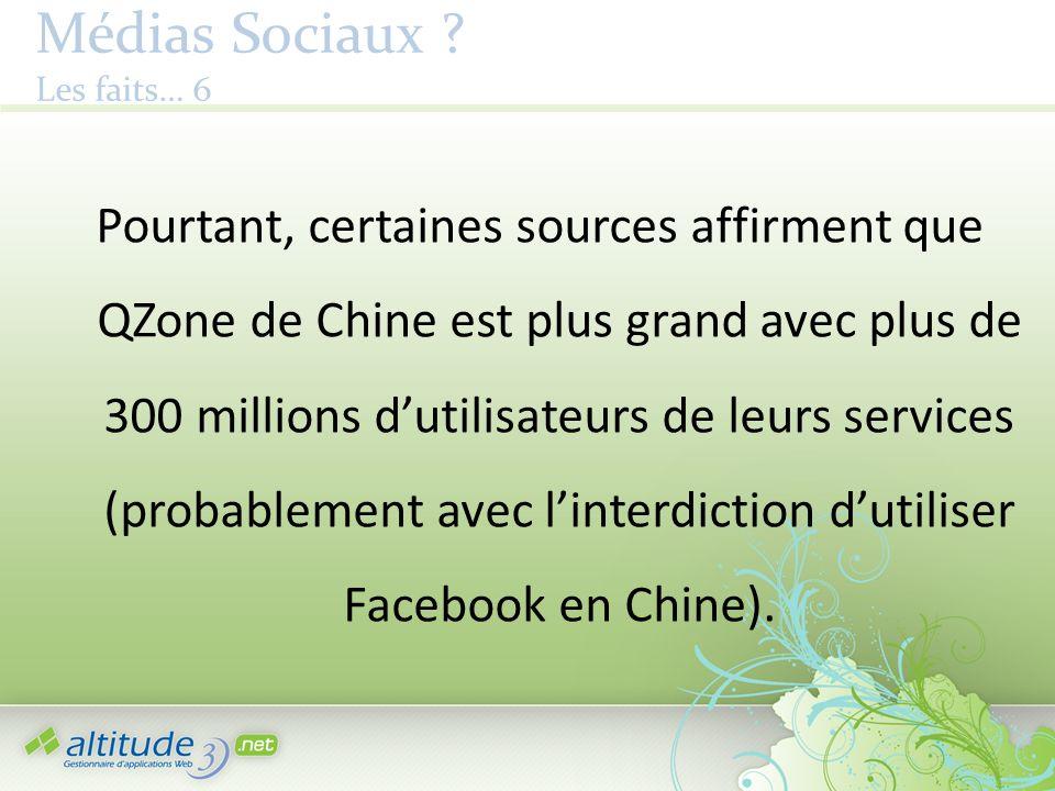 Médias Sociaux ? Les faits… 6 Pourtant, certaines sources affirment que QZone de Chine est plus grand avec plus de 300 millions dutilisateurs de leurs