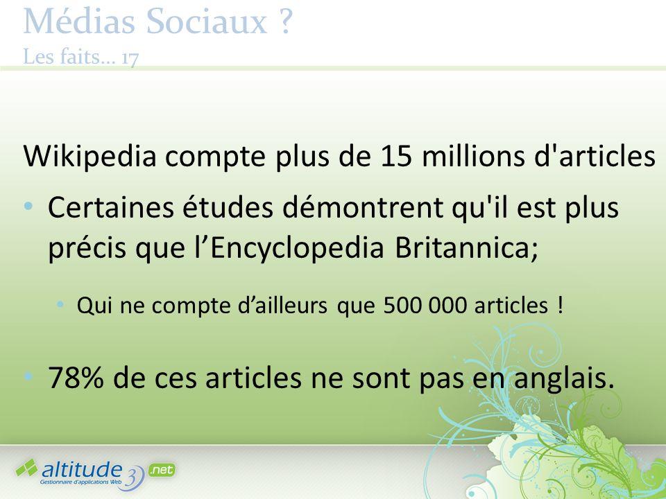 Médias Sociaux ? Les faits… 17 Wikipedia compte plus de 15 millions d'articles Certaines études démontrent qu'il est plus précis que lEncyclopedia Bri