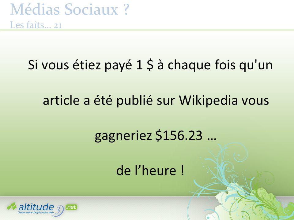 Médias Sociaux ? Les faits… 21 Si vous étiez payé 1 $ à chaque fois qu'un article a été publié sur Wikipedia vous gagneriez $156.23 … de lheure !