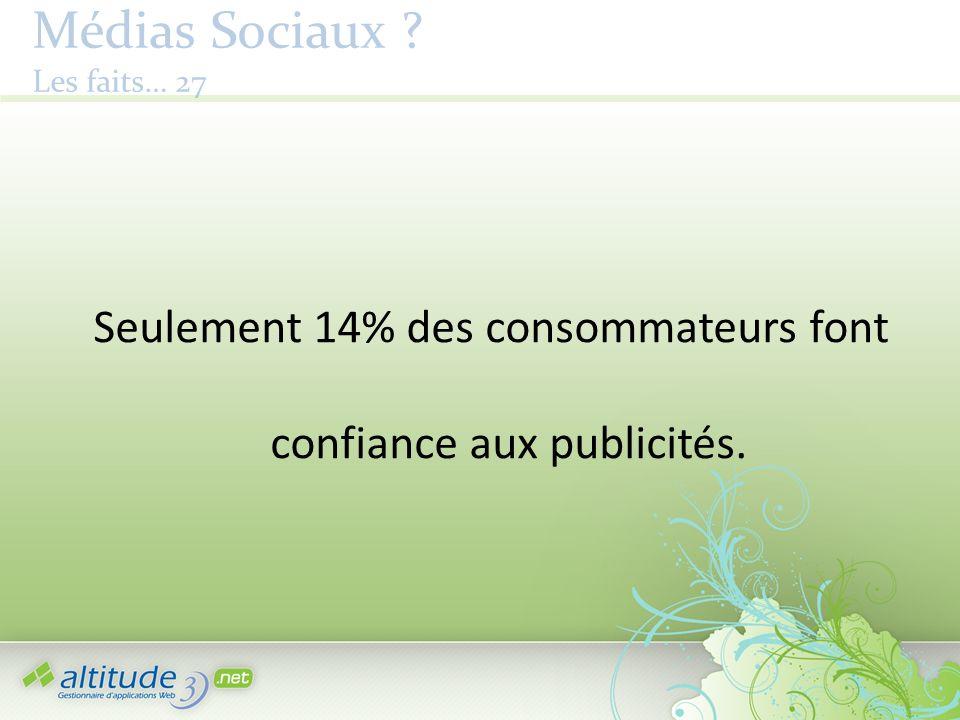 Médias Sociaux ? Les faits… 27 Seulement 14% des consommateurs font confiance aux publicités.