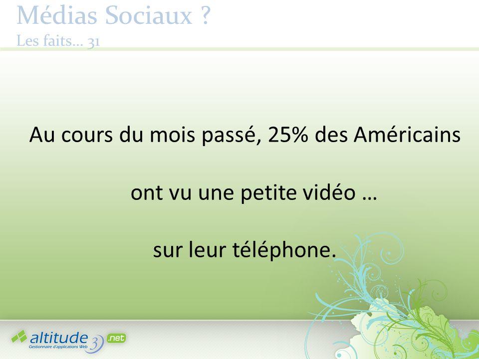 Médias Sociaux ? Les faits… 31 Au cours du mois passé, 25% des Américains ont vu une petite vidéo … sur leur téléphone.