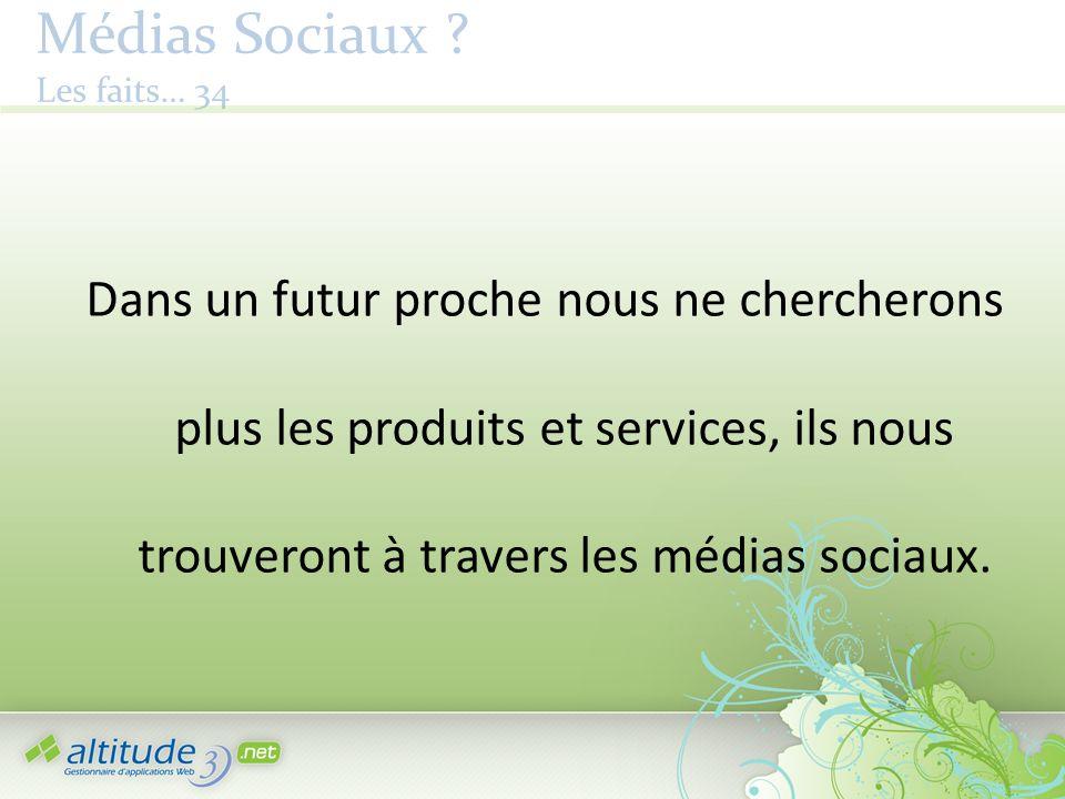 Médias Sociaux ? Les faits… 34 Dans un futur proche nous ne chercherons plus les produits et services, ils nous trouveront à travers les médias sociau