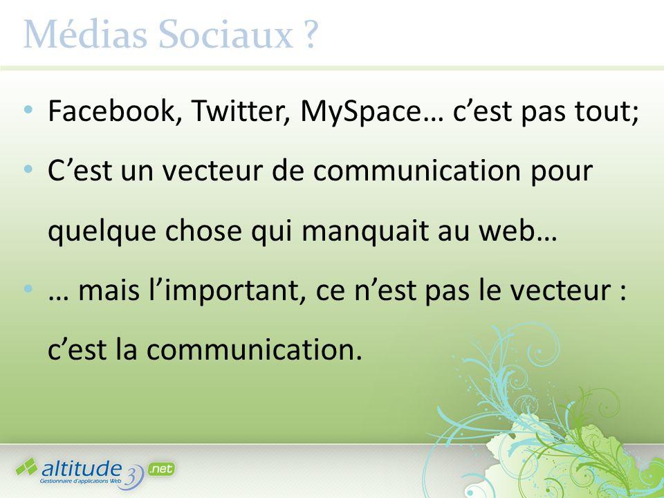 Médias Sociaux ? Facebook, Twitter, MySpace… cest pas tout; Cest un vecteur de communication pour quelque chose qui manquait au web… … mais limportant