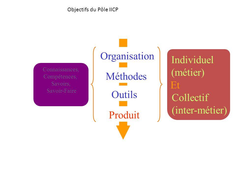 Et Collectif (inter-métier) Objectifs du Pôle IICP Produit Outils Méthodes Organisation Individuel (métier) Connaissances, Compétences, Savoirs, Savoi