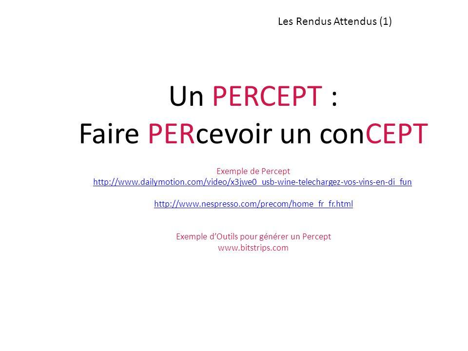 Les Rendus Attendus (1) Un PERCEPT : Faire PERcevoir un conCEPT Exemple de Percept http://www.dailymotion.com/video/x3jwe0_usb-wine-telechargez-vos-vi