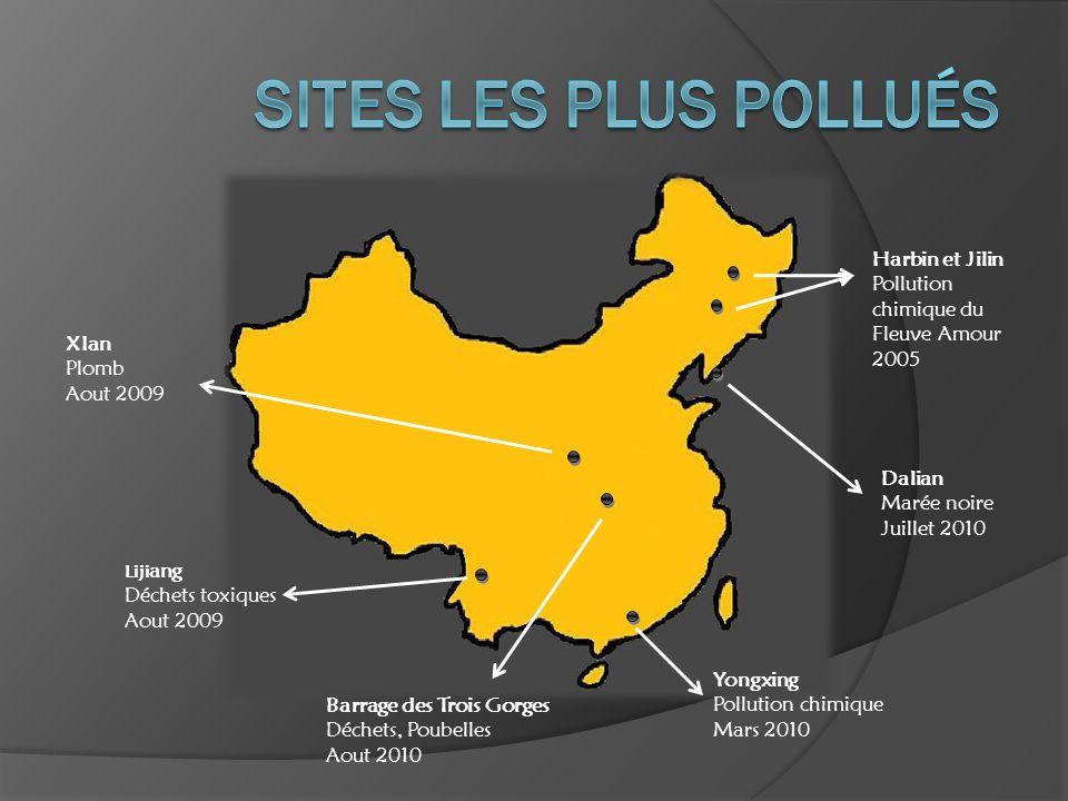 Harbin et Jilin Pollution chimique du Fleuve Amour 2005 Dalian Marée noire Juillet 2010 Yongxing Pollution chimique Mars 2010 Barrage des Trois Gorges