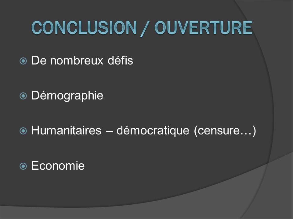 De nombreux défis Démographie Humanitaires – démocratique (censure…) Economie