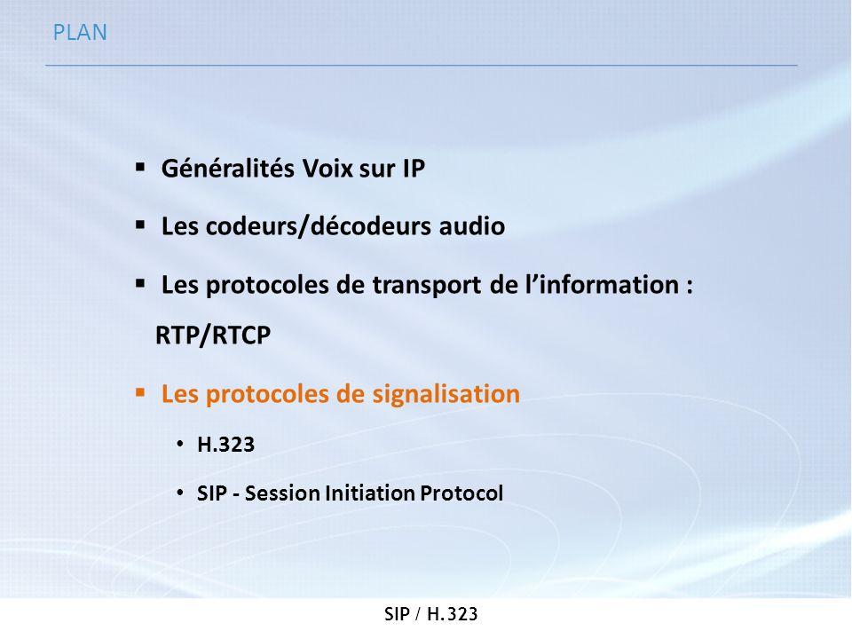 SIP / H.323 PLAN Généralités Voix sur IP Les codeurs/décodeurs audio Les protocoles de transport de linformation : RTP/RTCP Les protocoles de signalis
