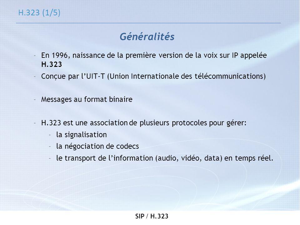 SIP / H.323 H.323 (1/5) -En 1996, naissance de la première version de la voix sur IP appelée H.323 -Conçue par lUIT-T (Union Internationale des téléco