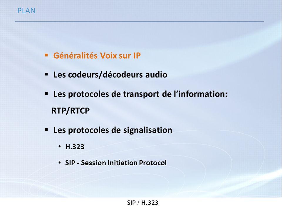 SIP / H.323 Généralités Voix sur IP (1/3) Définition: Utilisation des réseaux TCP/IP comme support des communications voix (appels téléphoniques, radios…) Utilité: - Réduire les coûts - Standardiser léquipement - Centraliser la gestion de toutes les communications de lentreprise: réseau « triple play » (voix, vidéos, données) - Améliorer la gestion des appels - Augmentation de la productivité des entreprises VoIP = Voice over IP