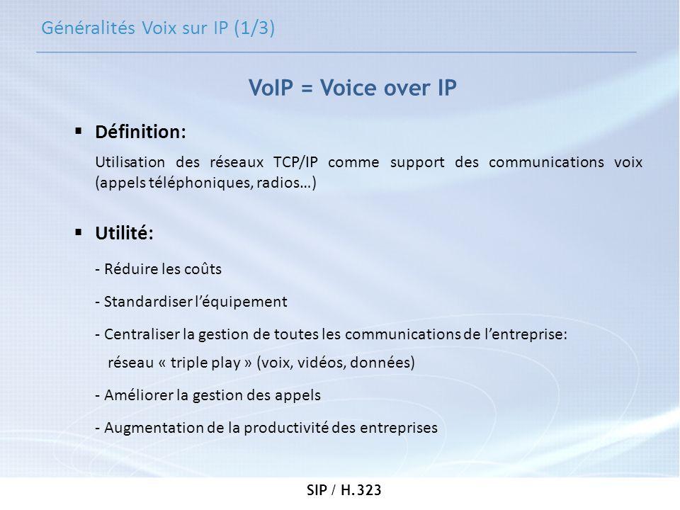 SIP / H.323 H.323 (1/5) -En 1996, naissance de la première version de la voix sur IP appelée H.323 -Conçue par lUIT-T (Union Internationale des télécommunications) -Messages au format binaire -H.323 est une association de plusieurs protocoles pour gérer: -la signalisation -la négociation de codecs -le transport de linformation (audio, vidéo, data) en temps réel.