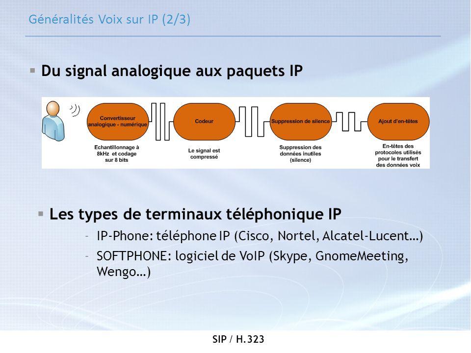 SIP / H.323 H.323 (2/5) Les terminaux: - participants à une session multimédia Les passerelles (Gateway): - assure linterconnexion entre le réseau H.323 et les autres réseaux téléphoniques (RTC, SIP…) Les portiers (Gatekeeper): - se charge de lenregistrement des clients - soccupe des traductions dadresses (numéro de téléphone – adresse IP) Unités de contrôle multipoint: - permet aux clients de se connecter aux sessions de conférence de données Principaux acteurs de H.323