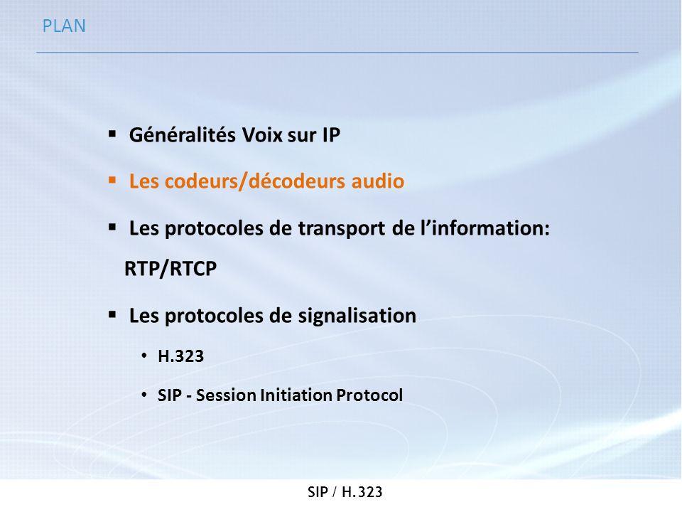 SIP / H.323 Les codeurs/décodeurs audio Objectifs Compresser le signal analogique (voix) précédemment numérisé Mode de compressionDébit en Kbit/s G.711 PCM64 (pas de compression) G.726 AD PCM32 G.728 LD CELP16 G.729 codecs8 G.723.1 MPMLQ6,3 G.723.1 ACELP5,3 LPC102,5 GIPS13,3