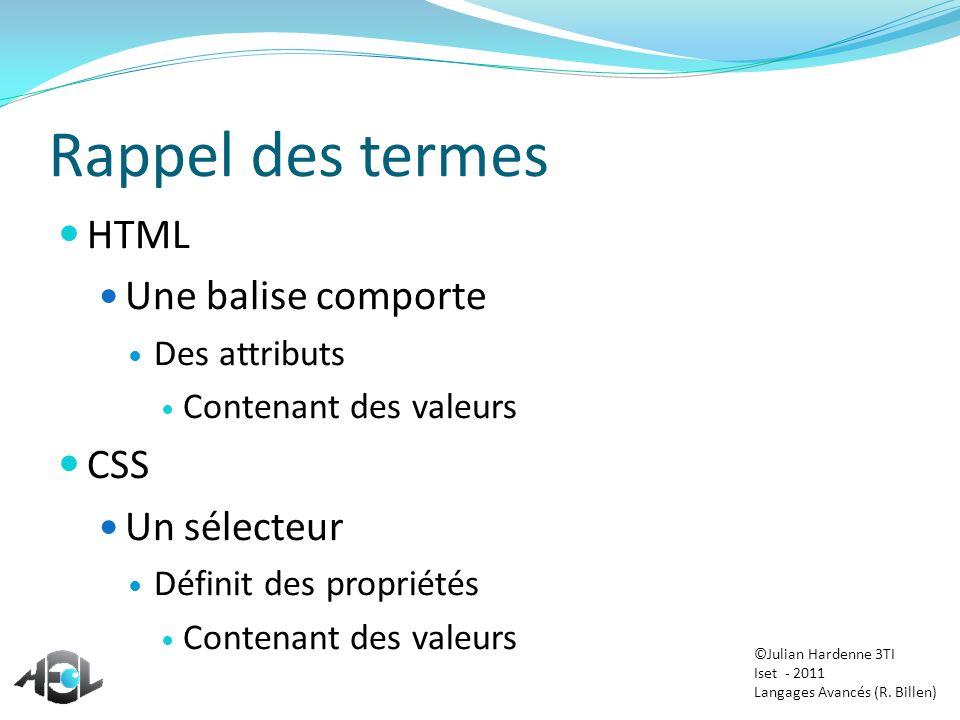 Rappel des termes HTML Une balise comporte Des attributs Contenant des valeurs CSS Un sélecteur Définit des propriétés Contenant des valeurs ©Julian H
