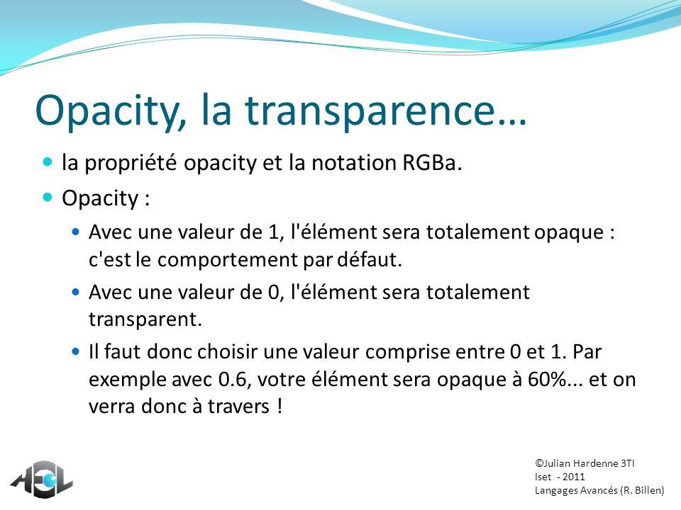 Opacity, la transparence… la propriété opacity et la notation RGBa. Opacity : Avec une valeur de 1, l'élément sera totalement opaque : c'est le compor