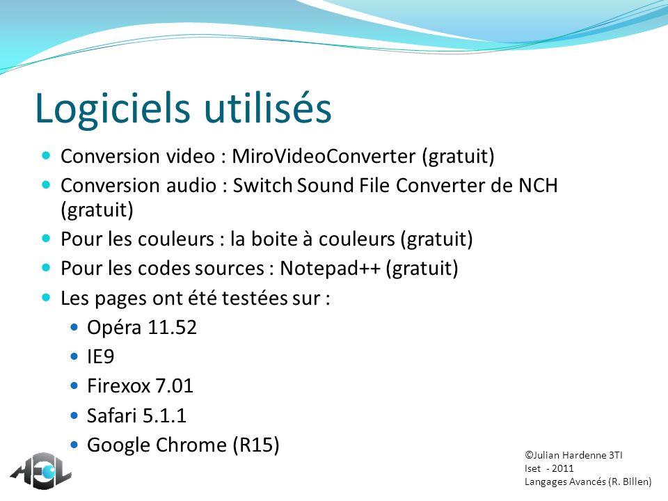 Logiciels utilisés Conversion video : MiroVideoConverter (gratuit) Conversion audio : Switch Sound File Converter de NCH (gratuit) Pour les couleurs :
