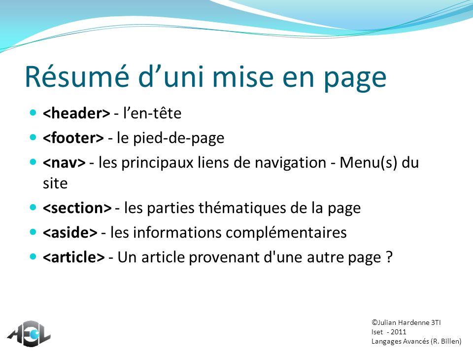 Résumé duni mise en page - len-tête - le pied-de-page - les principaux liens de navigation - Menu(s) du site - les parties thématiques de la page - le