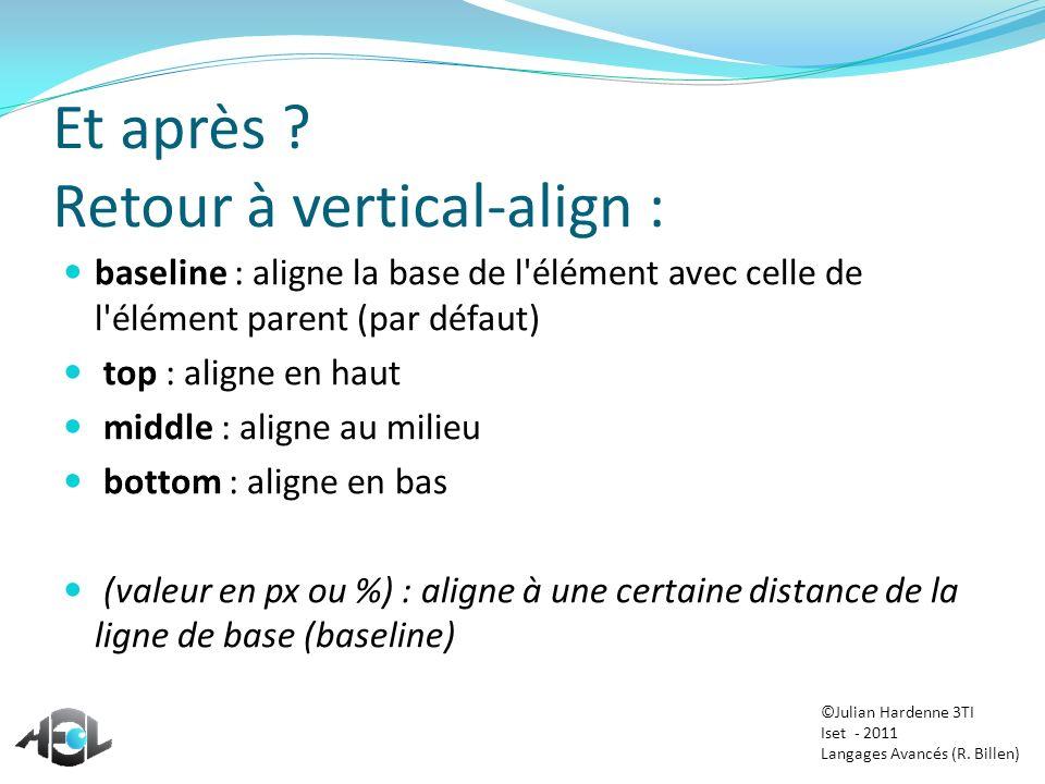 Et après ? Retour à vertical-align : baseline : aligne la base de l'élément avec celle de l'élément parent (par défaut) top : aligne en haut middle :