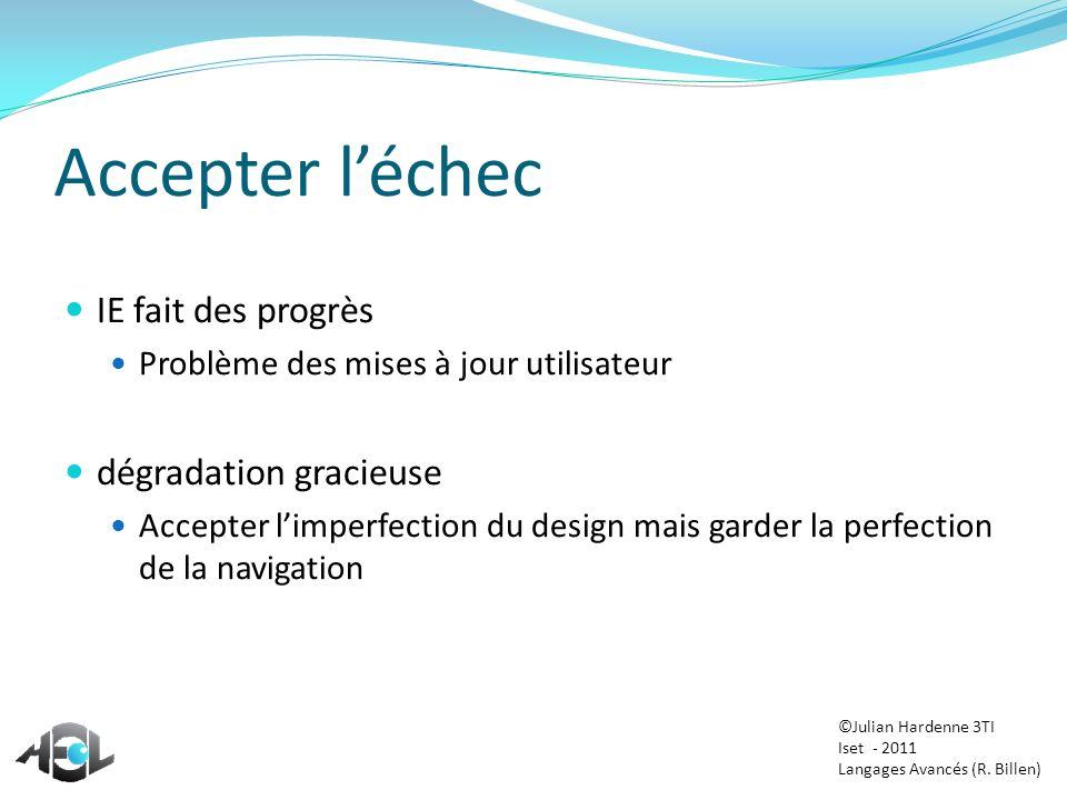 Accepter léchec IE fait des progrès Problème des mises à jour utilisateur dégradation gracieuse Accepter limperfection du design mais garder la perfec