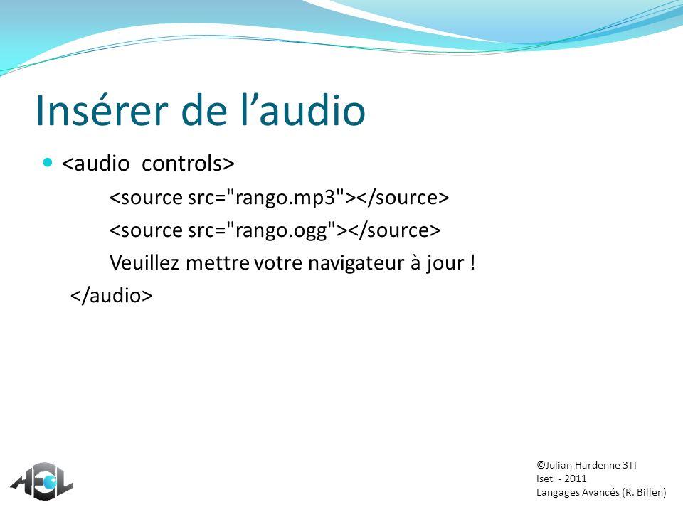 Insérer de laudio Veuillez mettre votre navigateur à jour ! ©Julian Hardenne 3TI Iset - 2011 Langages Avancés (R. Billen)