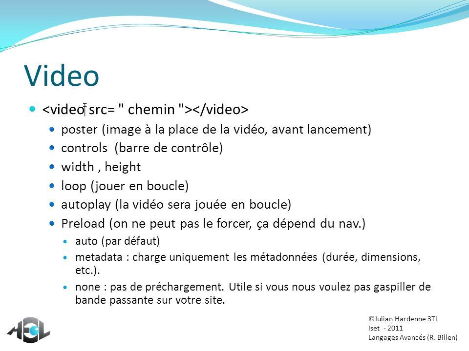 Video poster (image à la place de la vidéo, avant lancement) controls (barre de contrôle) width, height loop (jouer en boucle) autoplay (la vidéo sera