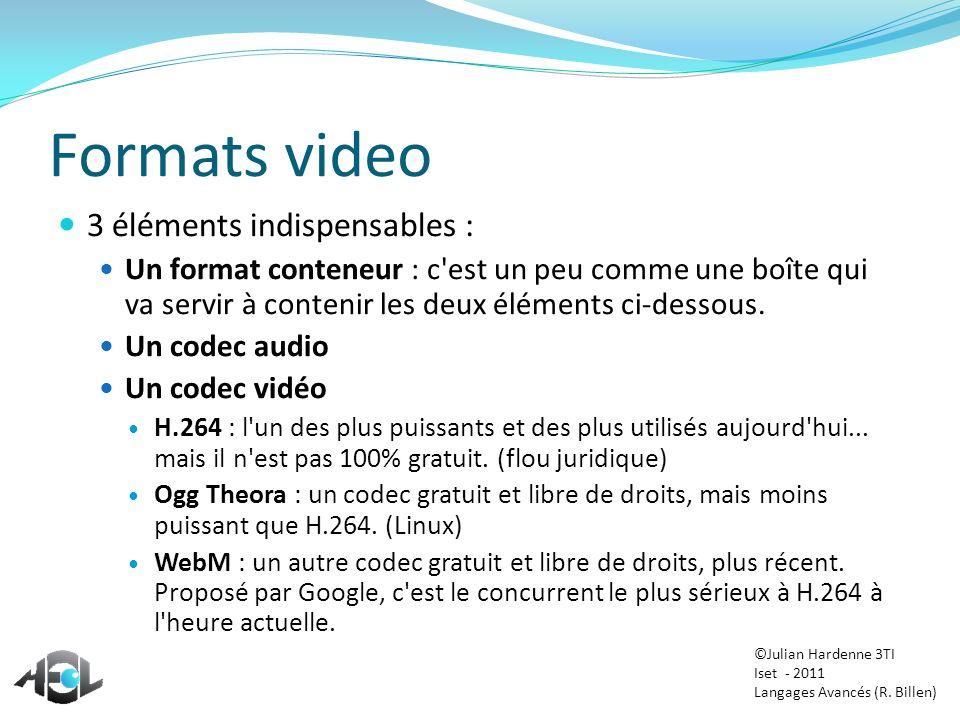 Formats video 3 éléments indispensables : Un format conteneur : c'est un peu comme une boîte qui va servir à contenir les deux éléments ci-dessous. Un