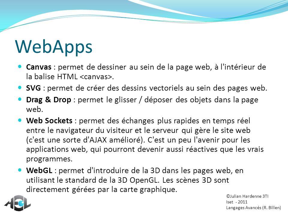 WebApps Canvas : permet de dessiner au sein de la page web, à l'intérieur de la balise HTML. SVG : permet de créer des dessins vectoriels au sein des