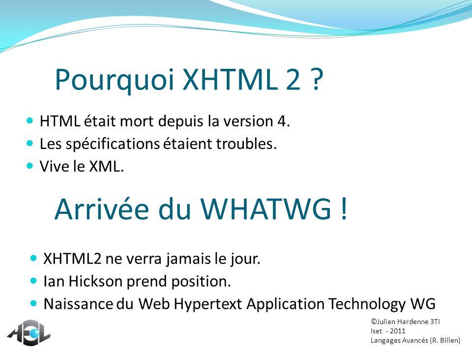 Pourquoi XHTML 2 ? HTML était mort depuis la version 4. Les spécifications étaient troubles. Vive le XML. Arrivée du WHATWG ! XHTML2 ne verra jamais l