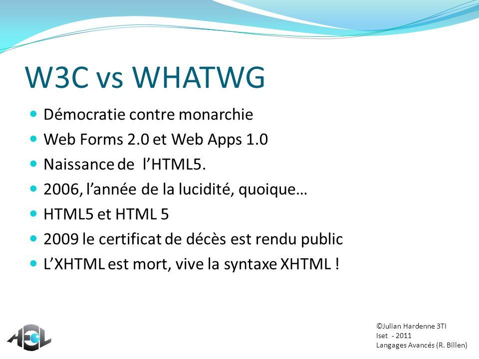 W3C vs WHATWG Démocratie contre monarchie Web Forms 2.0 et Web Apps 1.0 Naissance de lHTML5. 2006, lannée de la lucidité, quoique… HTML5 et HTML 5 200