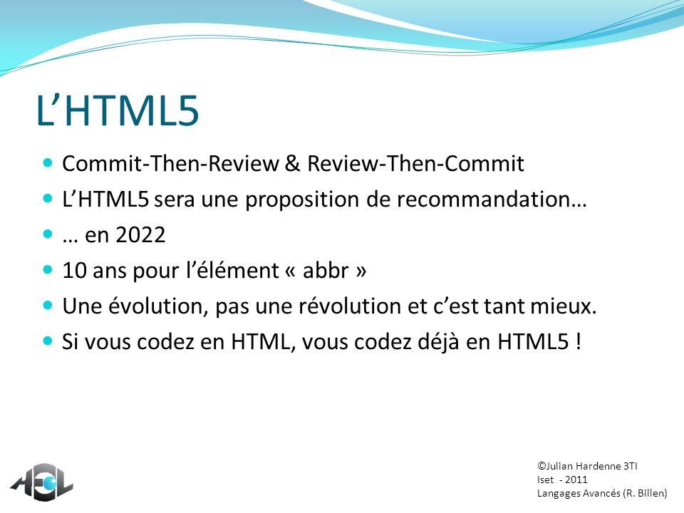 Restons simples Trouver des polices : http://www.fontsquirrel.com/ http://www.dafont.com/fr/ http://www.google.com/webfonts#AboutPlace:about FontSquirrel et son générateur sympathique http://www.fontsquirrel.com/fontface/generator Le reste, cest du copier-coller ©Julian Hardenne 3TI Iset - 2011 Langages Avancés (R.