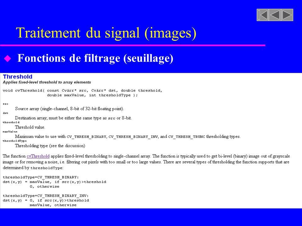 Traitement du signal (images) u Fonctions de filtrage (seuillage)