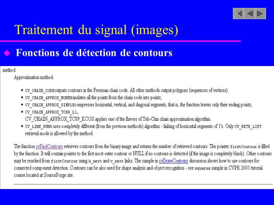 Traitement du signal (images) u Fonctions de détection de contours