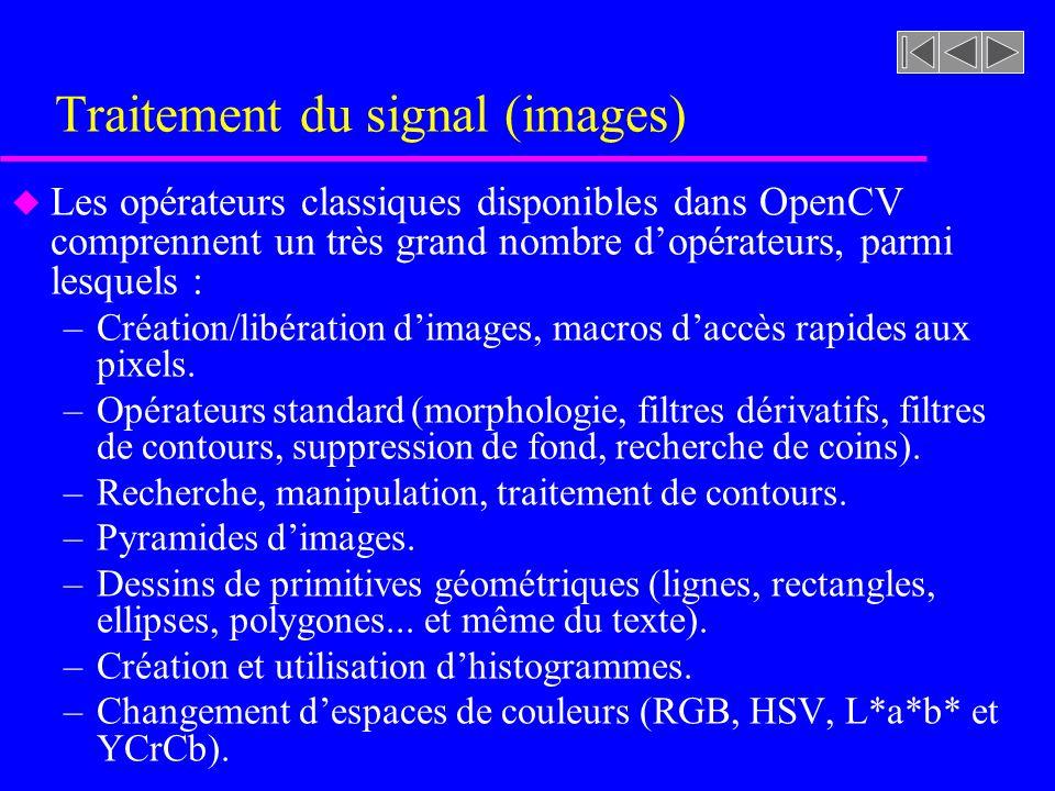 Traitement du signal (images) u Les opérateurs classiques disponibles dans OpenCV comprennent un très grand nombre dopérateurs, parmi lesquels : –Créa