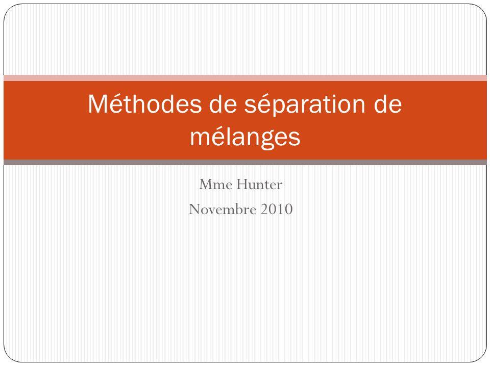 Mme Hunter Novembre 2010 Méthodes de séparation de mélanges