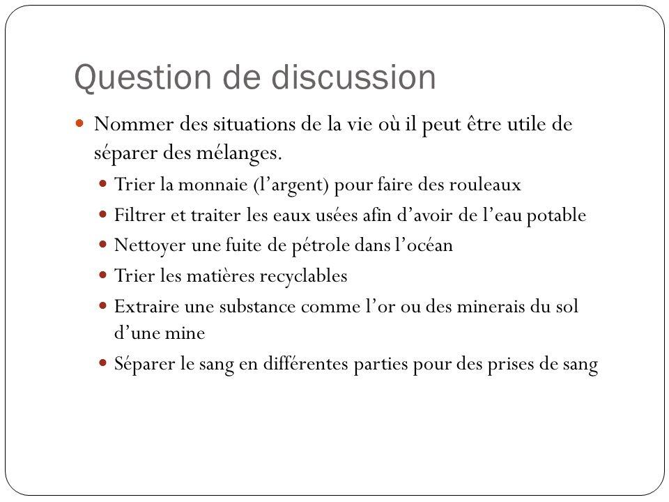Question de discussion Nommer des situations de la vie où il peut être utile de séparer des mélanges.