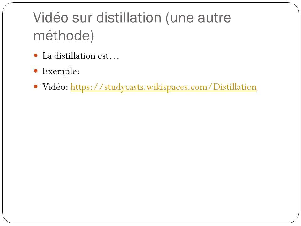 Vidéo sur distillation (une autre méthode) La distillation est… Exemple: Vidéo: https://studycasts.wikispaces.com/Distillationhttps://studycasts.wikispaces.com/Distillation