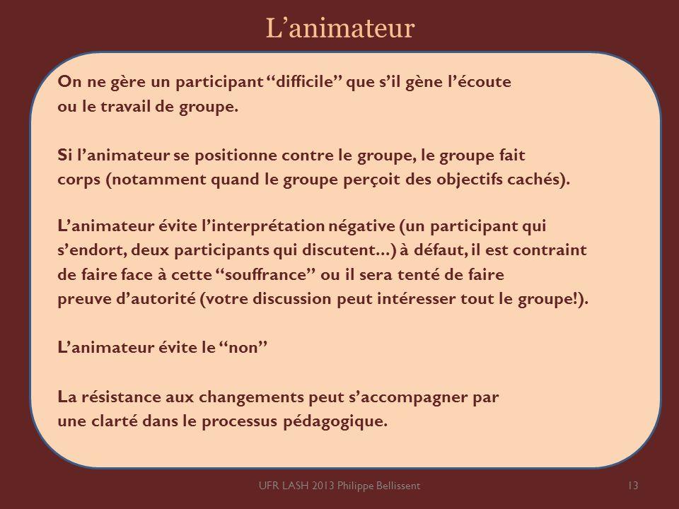 Lanimateur On ne gère un participant difcile que sil gène lécoute ou le travail de groupe. Si lanimateur se positionne contre le groupe, le groupe fai