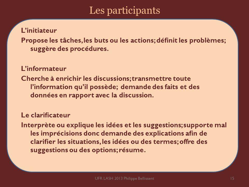 Les participants Linitiateur Propose les tâches, les buts ou les actions; dénit les problèmes; suggère des procédures. Linformateur Cherche à enrichir