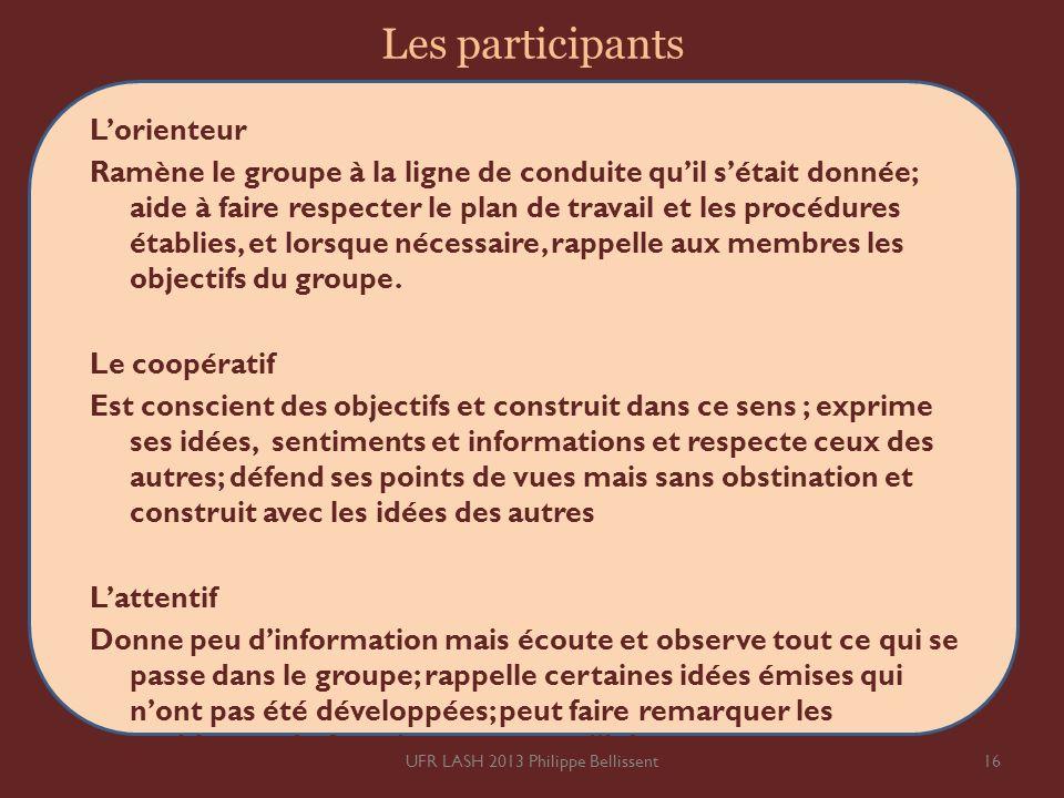 Les participants Lorienteur Ramène le groupe à la ligne de conduite quil sétait donnée; aide à faire respecter le plan de travail et les procédures ét