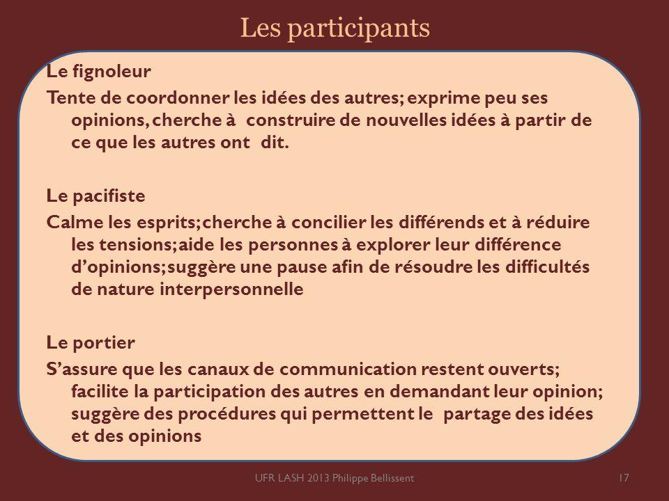 Les participants Le gnoleur Tente de coordonner les idées des autres; exprime peu ses opinions, cherche à construire de nouvelles idées à partir de ce