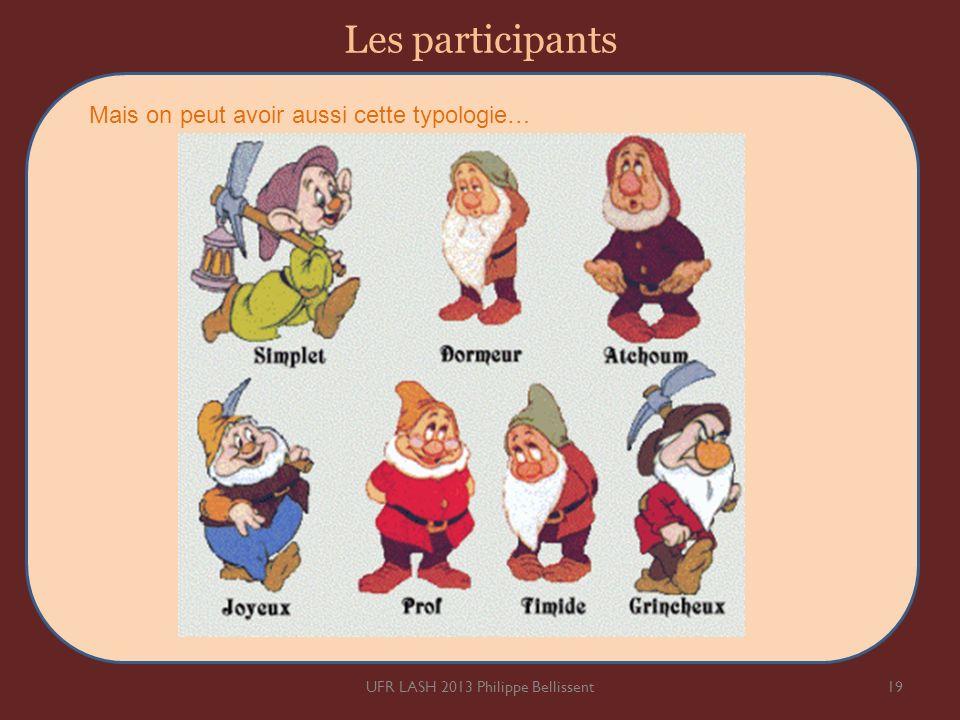 Les participants 19UFR LASH 2013 Philippe Bellissent Mais on peut avoir aussi cette typologie…