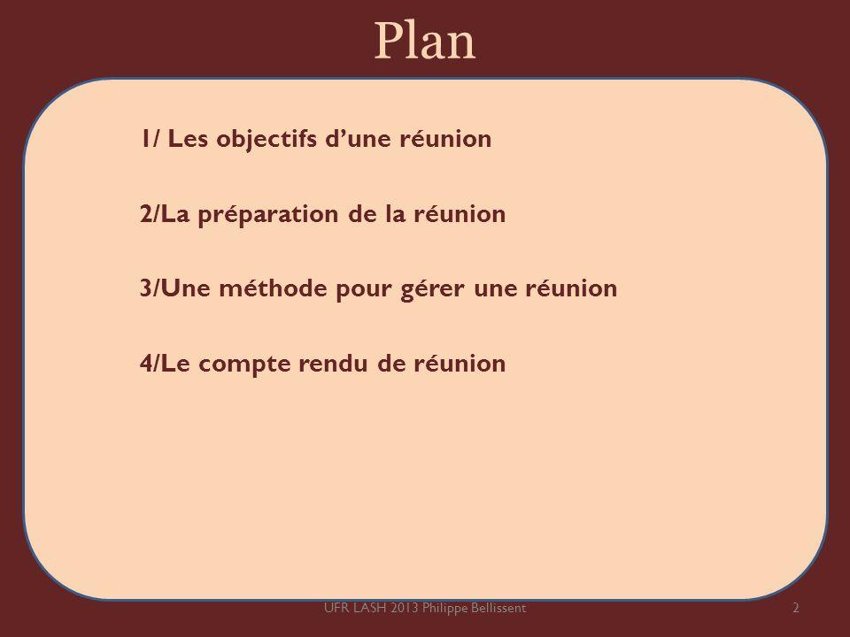 Plan 1/ Les objectifs dune réunion 2/La préparation de la réunion 3/Une méthode pour gérer une réunion 4/Le compte rendu de réunion 2UFR LASH 2013 Phi