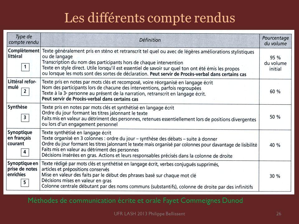 Les différents compte rendus 26UFR LASH 2013 Philippe Bellissent Méthodes de communication écrite et orale Fayet Commeignes Dunod