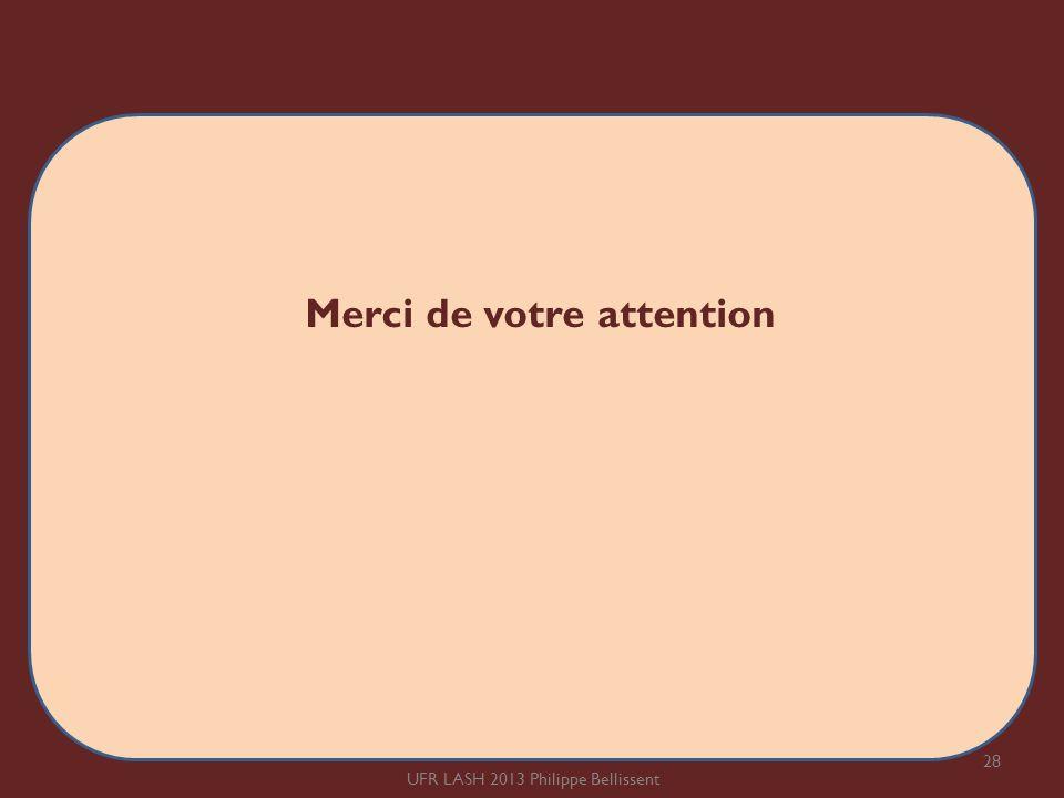 Merci de votre attention 28 UFR LASH 2013 Philippe Bellissent