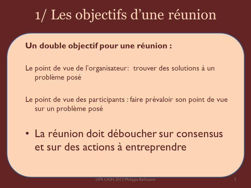 1/ Les objectifs dune réunion 3UFR LASH 2013 Philippe Bellissent Un double objectif pour une réunion : Le point de vue de lorganisateur: trouver des s