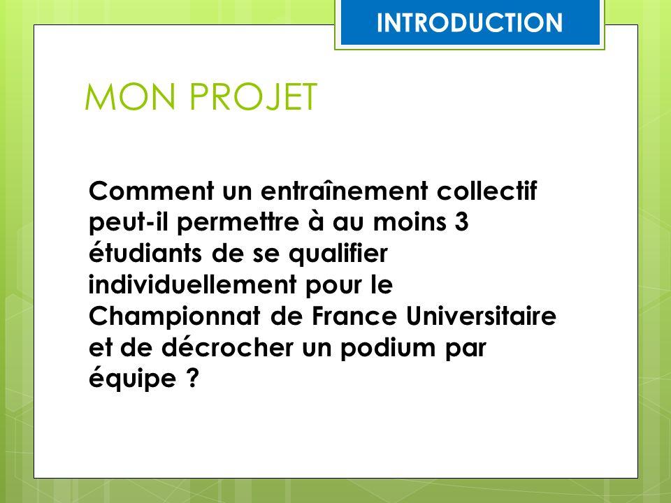 MON PROJET Comment un entraînement collectif peut-il permettre à au moins 3 étudiants de se qualifier individuellement pour le Championnat de France U