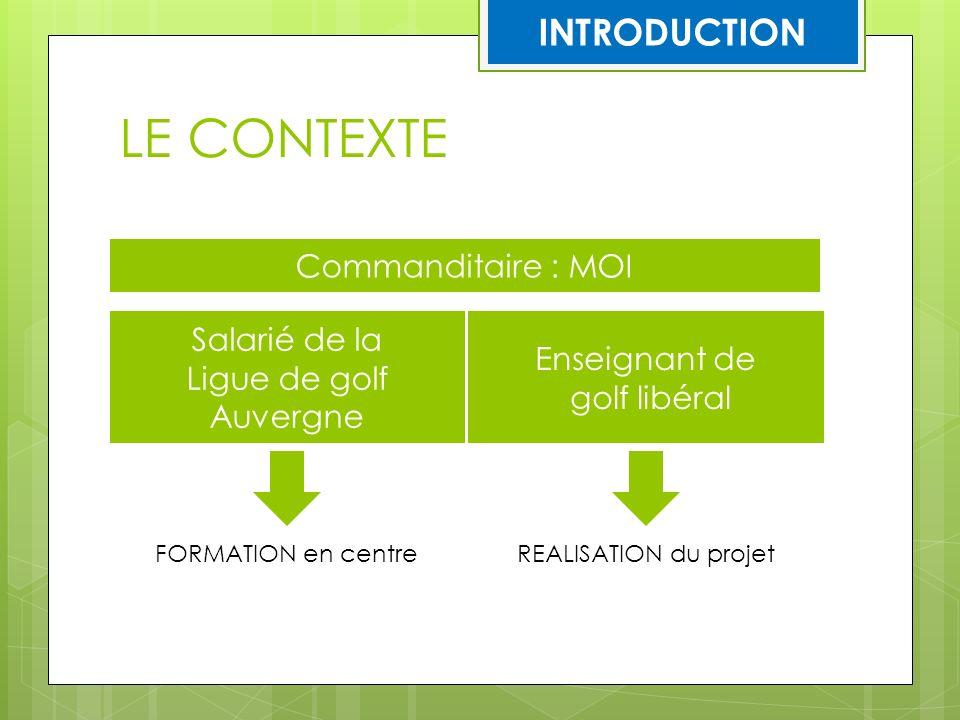 LE CONTEXTE Commanditaire : MOI Salarié de la Ligue de golf Auvergne Enseignant de golf libéral FORMATION en centreREALISATION du projet INTRODUCTION
