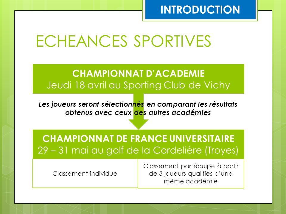 ECHEANCES SPORTIVES CHAMPIONNAT DACADEMIE Jeudi 18 avril au Sporting Club de Vichy CHAMPIONNAT DE FRANCE UNIVERSITAIRE 29 – 31 mai au golf de la Corde