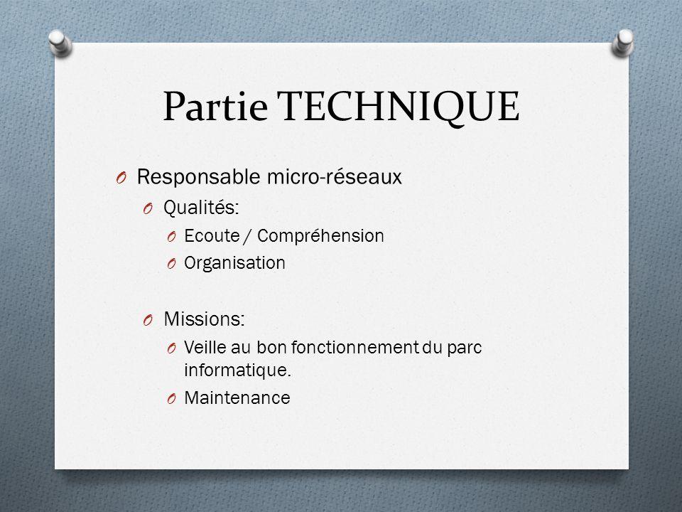 Partie TECHNIQUE O Responsable micro-réseaux O Qualités: O Ecoute / Compréhension O Organisation O Missions: O Veille au bon fonctionnement du parc informatique.